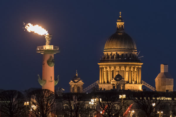 rostral columns flames in st petersburg