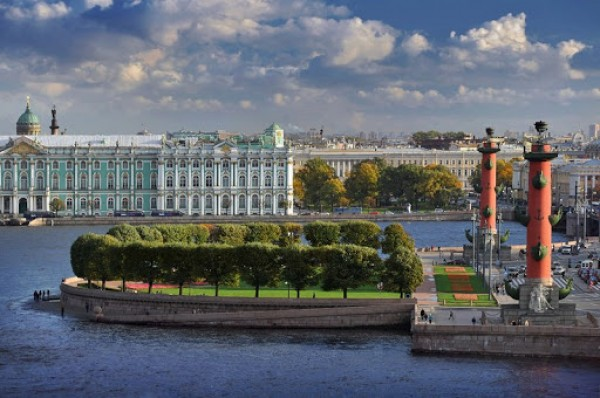 Rostral Columns in St Petersburg - The Spit of the Basil Island
